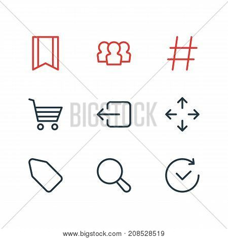 Editable Pack Of Group, Exit, Time And Other Elements.  Vector Illustration Of 9 Annex Icons.