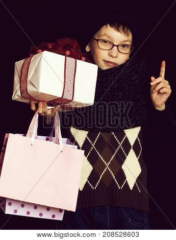 Small Boy Nerd With Presents