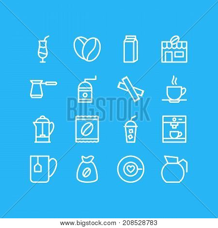 Editable Pack Of Turkish, Saucer, Seed And Other Elements.  Vector Illustration Of 16 Coffee Icons.