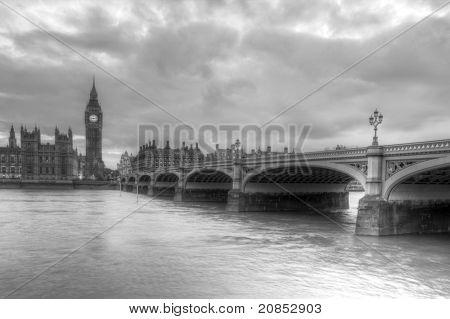 Westminster Bridge and Big Ben in London, England.