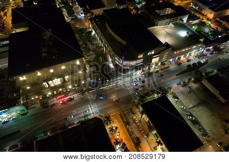 Night Image Aerial Lincoln Road