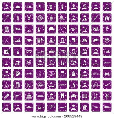 100 job icons set in grunge style purple color isolated on white background vector illustration