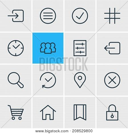 Editable Pack Of House, Magnifier, Pinpoint And Other Elements.  Vector Illustration Of 16 App Icons.