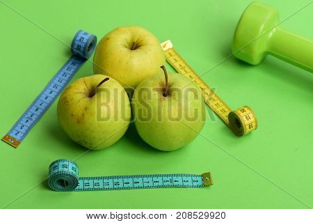 Sports And Health Symbols. Pattern Made Of Apples Near Barbell