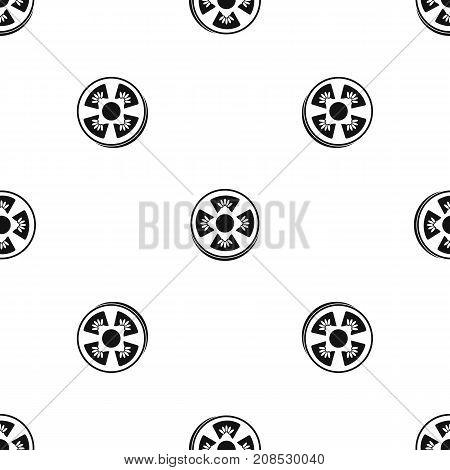 Slice of ripe tomato pattern repeat seamless in black color for any design. Vector geometric illustration
