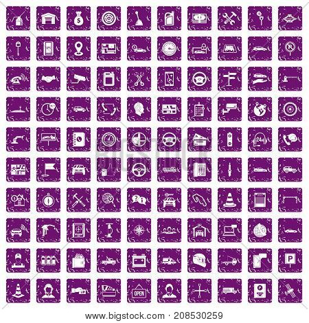 100 auto service icons set in grunge style purple color isolated on white background vector illustration