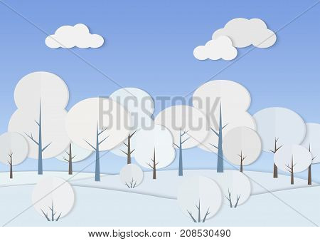 Vector illustration of cardboard paper forest with trees and bushes in snow. Winter low poly landscape