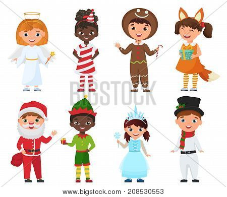 Vector Set of Kids in Christmas Costumes isolated.