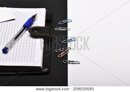 Office Tools On Black And White Background With Copy Space