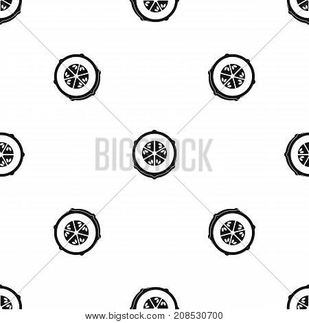 Slice of fresh cucumber pattern repeat seamless in black color for any design. Vector geometric illustration