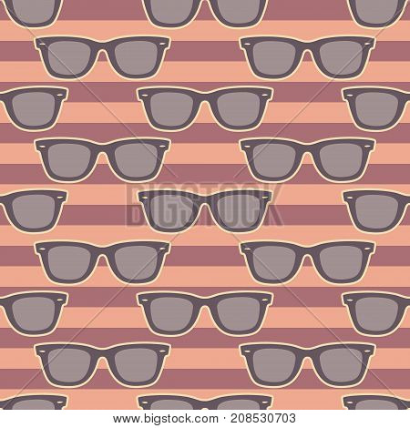 Funky glasses pattern, Seamless vector illustration, striped background