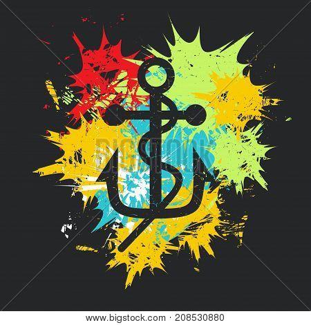 Photo camera on black background with color spots. Grunge vector illustration