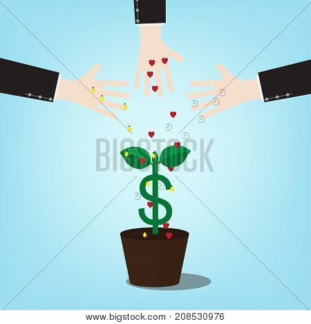 Illustration of investment requires time to pay attention to ideas. with money tree . Vector design of a new seed invest project monetization with concept money plant growing.