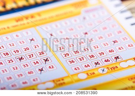 SOFIA, BULGARIA - September 07, 2017 : Filled out Bulgarian national lottery loto ticket