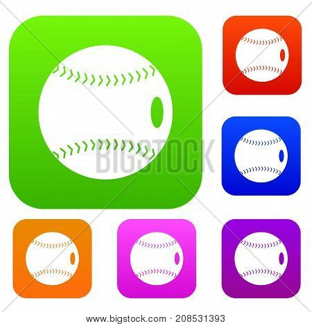 Baseball ball set icon color in flat style isolated on white. Collection sings vector illustration