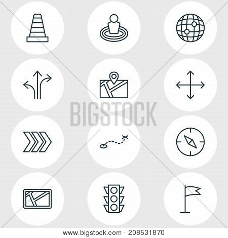 Editable Pack Of Navigation, Pin, Map And Other Elements.  Vector Illustration Of 12 Navigation Icons.