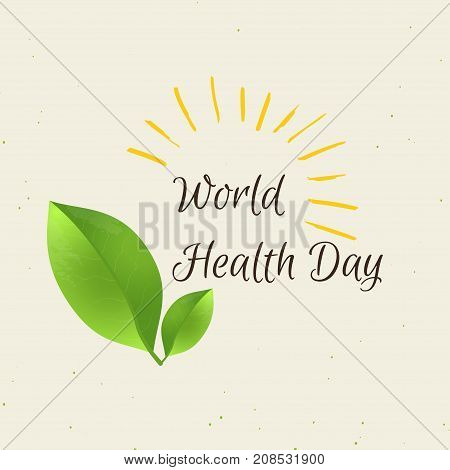 World health day concept with green leaf and sun . Advertisement of healty lifestyle and vegan food. People healthcare. Vector illustration.
