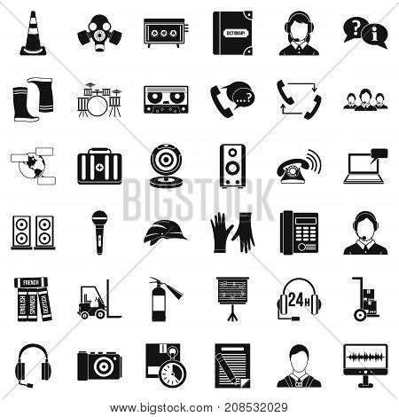 Microphone icons set. Simple style of 36 microphone vector icons for web isolated on white background