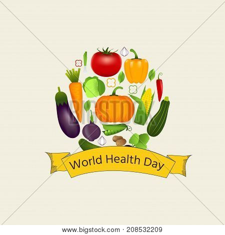 World health day concept with vegetables . Advertisement of healty lifestyle and vegan food. People healthcare. Vector circle illustration.