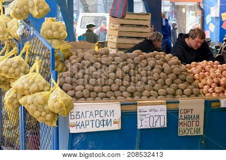 Sofia, Bulgaria - March 3, 2017 : Sofia Bulgaria - March 3 2017 : Potatoes for sale on market stall in Zhenski Pazar Sofia