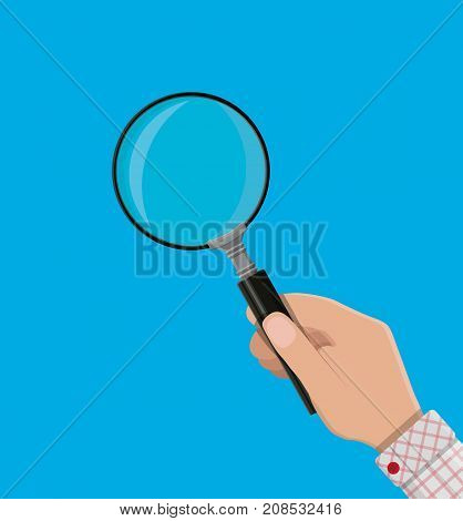 Magnifying glass icon. Magnifying glass in hand. Searching, exploring, analysing concept. Vector illustration in flat style