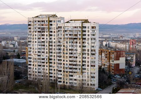 SOFIA, BULGARIA - March 2, 2017 : Typical tall communist era apartments block in residential district