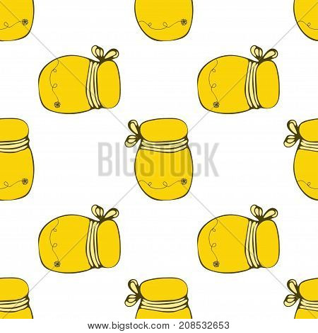 Vector Packaging Template With Seamless Honey Pattern. Beekeeper