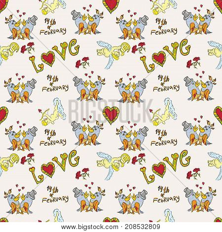 vector seamless children's drawing on the theme of St. Valentine's Day