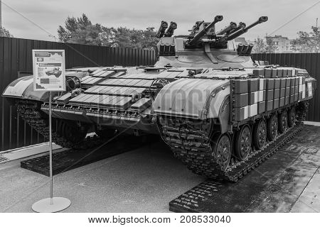 Kyiv Ukraine - October 11 2017: Weapon of the War in Ukraine. Combat Machine by name Strage (Sentinel) during exibition. Black and white photography.