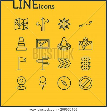 Editable Pack Of Path, Arrow, Location And Other Elements.  Vector Illustration Of 16 Location Icons.