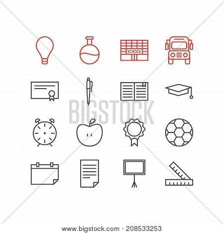 Editable Pack Of Textbook, Write Table, Fruit And Other Elements.  Vector Illustration Of 16 Studies Icons.