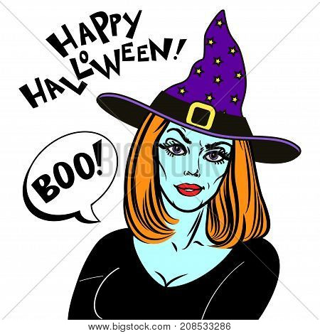 Woman in halloween costume and witch hat. Witch and text Happy Halloween. Halloween Party design template for poster. Vector illustration