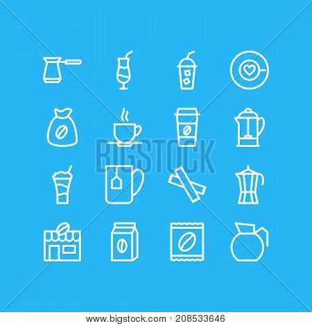 Editable Pack Of House, Mocha, Package Latte And Other Elements.  Vector Illustration Of 16 Drink Icons.