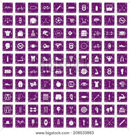 100 kettlebell icons set in grunge style purple color isolated on white background vector illustration