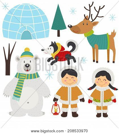 set of isolated arctic elements part 1  - vector illustration, eps