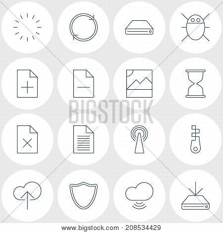 Editable Pack Of Waiting, Sandglass, Delete Data Elements.  Vector Illustration Of 16 Web Icons.