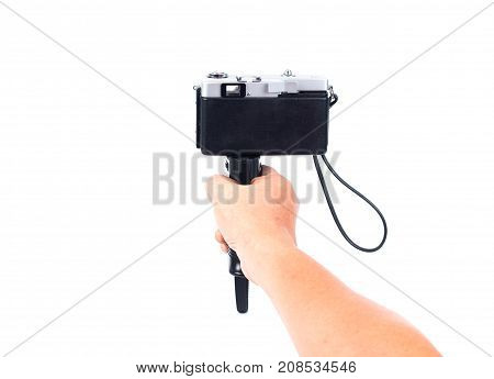 Hand Holding Camera By Use Camera Gun Holder Or Camera Grip