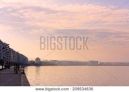 Thessaloniki Greece - April 15 2017 : Embankment of Thessaloniki city in Greece at sunset