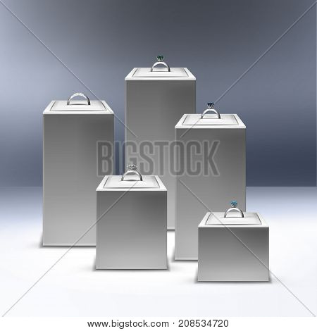 Vector illustration of showcase with silver rings on display, isolated on background