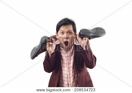 Crazy Businessman Holding Shoes And Scream In Panic Attack Emotion Isolate On White Background