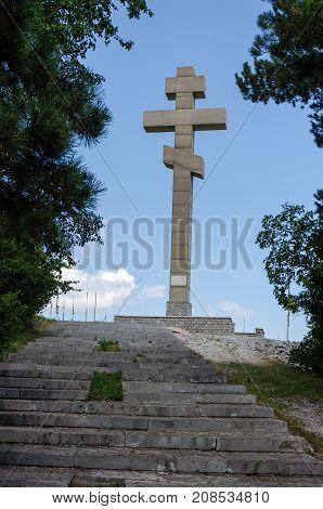 OKOLCHITSA PEAK BULGARIA - July 31 2016 : The monument at Okolchica peak Bulgaria built as obeisance to Hristo Botev