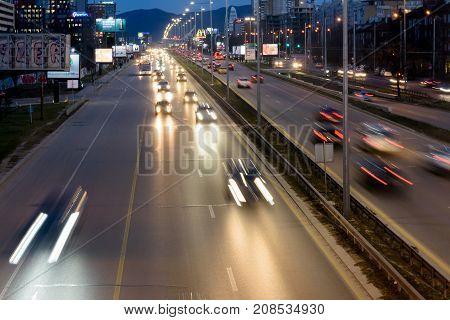 SOFIA BULGARIA - March 2 2017 : Traffic and light trails at Tsarigradsko Shose boulevard at night