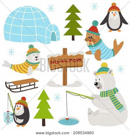 set of isolated arctic elements part 2  - vector illustration, eps