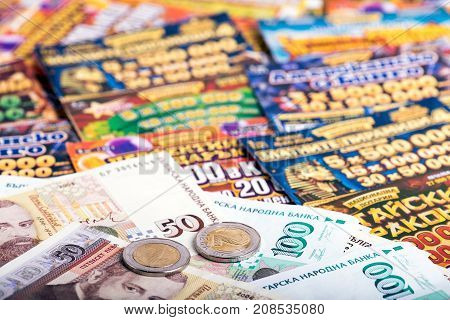 SOFIA BULGARIA - September 07 2017 : Bulgarian banknotes coins and national lottery tickets