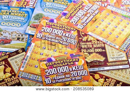 SOFIA BULGARIA - September 07 2017 : Pile of Bulgarian lottery scratch tickets