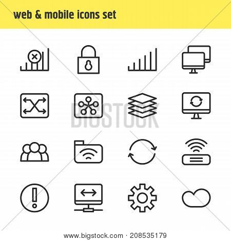 Editable Pack Of Update, Virtual Private Network, Internet And Other Elements.  Vector Illustration Of 16 Network Icons.