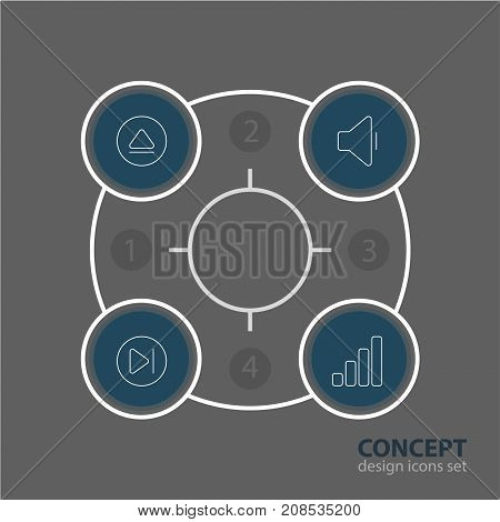 Editable Pack Of Decrease Sound, Rewind, Subsequent And Other Elements.  Vector Illustration Of 4 Melody Icons.