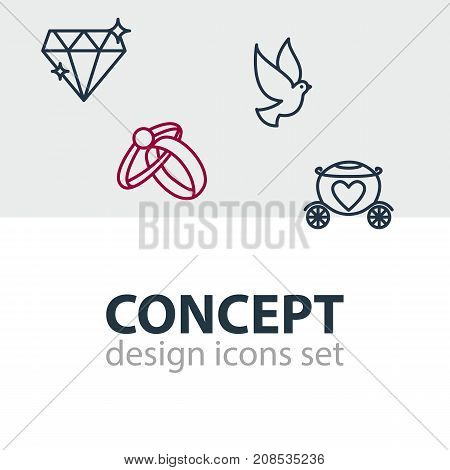 Editable Pack Of Chariot, Engagement, Brilliant And Other Elements.  Vector Illustration Of 4 Marriage Icons.