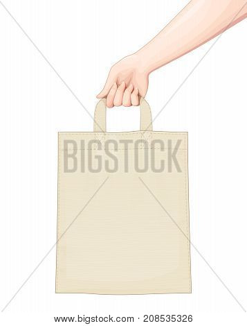 Hand hold Shopping bag. Set of accessoryes for foodstuff. Eco Bags mockup Isolated white background. Vector illustration.