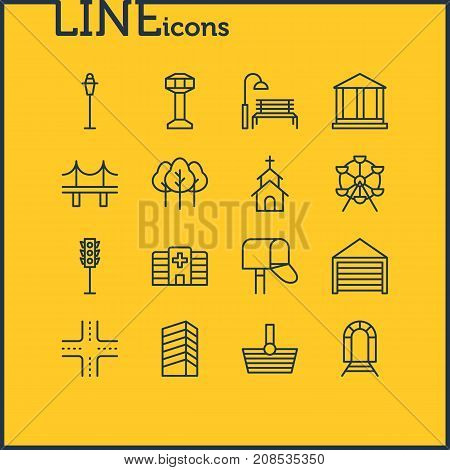 Editable Pack Of Building, Courthouse, Intersection And Other Elements.  Vector Illustration Of 16  Icons.